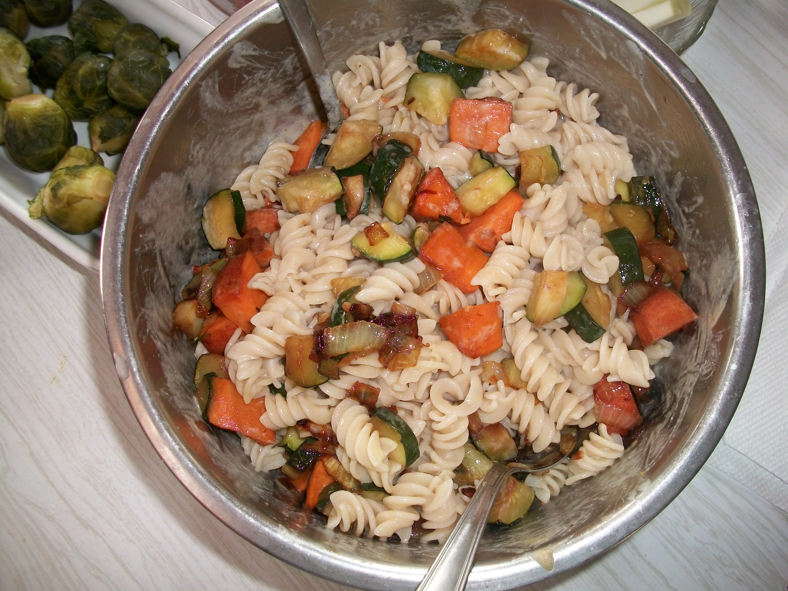Brown Rice Fusilli with Zucchini and Winter Squash